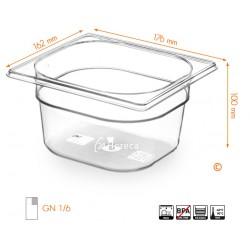 Gastronormbak 1/6 100mm Tritan BPA vrij