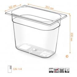 Gastronormbak 1/4 200mm Tritan BPA vrij