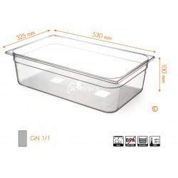 Gastronormbak 1/1 100mm Tritan BPA vrij